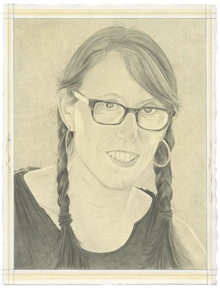 Portrait of Andrea Zittel. Pencil on paper by Phong Bui. From a photo by Elena Ray.