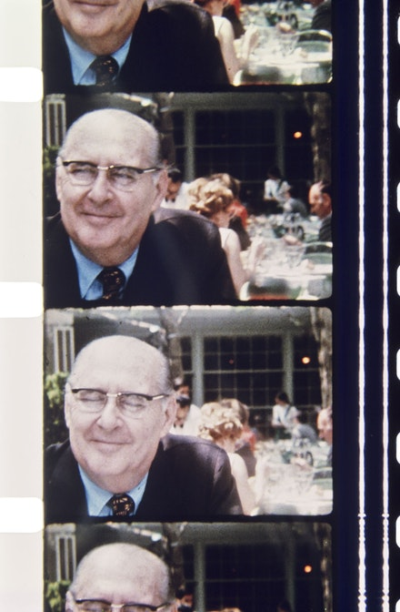 Photo of Roberto Rossellini at Tavern on the Green, Central Park. June 2, 1971. Scanned from 16mm film. Courtesy Jonas Mekas.