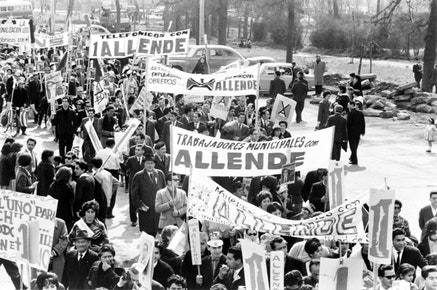 Marchers for Salvador Allende in Santiago, Chile; September 5, 1964. James N. Wallace - U.S. News & World Report Magazine Photograph Collection, Library of Congress.