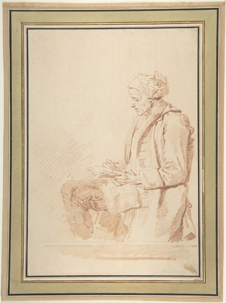 Jean Honoré Fragonard, Seated Man Reading, 1774. Red chalk, 13 x 9 3/16 inches. Metmuseum.org under OASC.