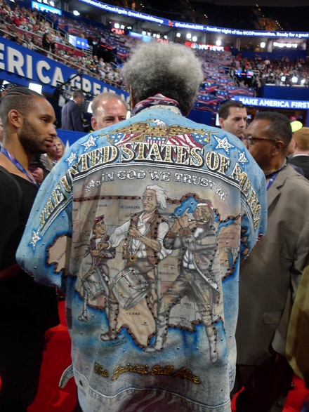 Boxing promoter Don King interviewed at the Republican National Convention in Cleveland, Ohio, July 18, 2016. Photo by David Levi Strauss.