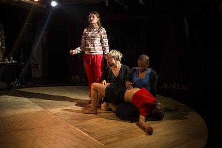 "EmmaGrace Skove-Epes, Katie Dean, Jennifer Harge, and Tara Sheena in ""Saw You Yesterday."" Photo: Maria Baranova."