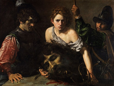 Valentin de Boulogne, <em>David with the Head of Goliath</em>,<em> </em>ca. 1615 – 16. Oil on canvas, 39 × 52 3⁄4 inches. Museo Thyssen-Bornemisza, Madrid.