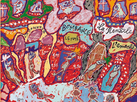 Jean Dubuffet, <em>Rue des Petits-Champs (Bombance)</em>, 1962. Gouache. Fondation Dubuffet, Paris. © 2016 Artists Rights Society (ARS), New York / ADAGP, Paris.
