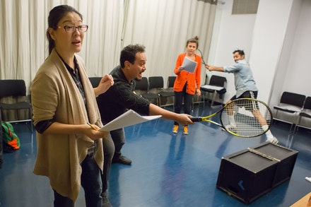 (Left to right) Jennifer Lim, Michael Braun, Jeanine Serralles, and Bhavesh Patel in rehearsal for <i>Don't You F**king Say a Word</i>. Photo: Hunter Canning.