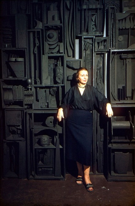 Louise Nevelson in 1958 with <em>Sky Cathedral</em>. Photo: Dan Budnick.
