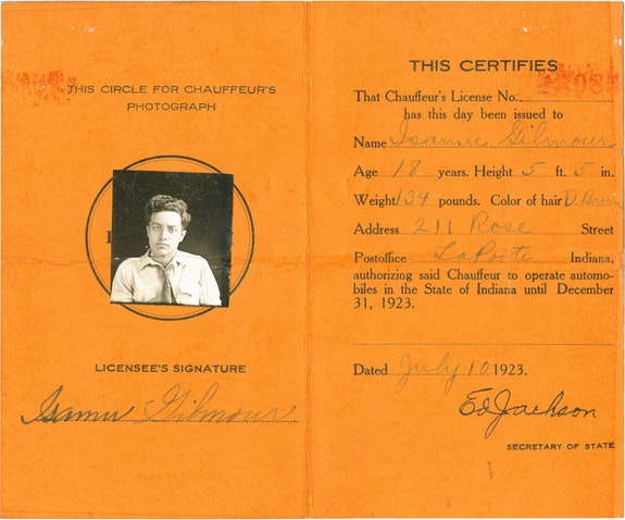 Isamu Noguchi's Indiana Chauffeur's License, 1923 (verso). ©The Isamu Noguchi Foundation and Garden Museum, New York / ARS.