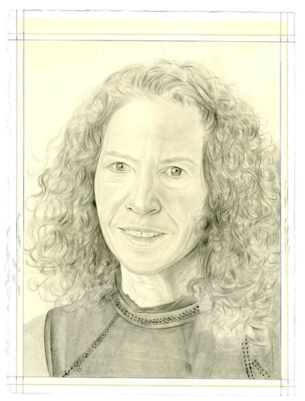 Portrait of Susan Harris. Pencil on paper by Phong Bui. From a photo by Zack Garlitos.