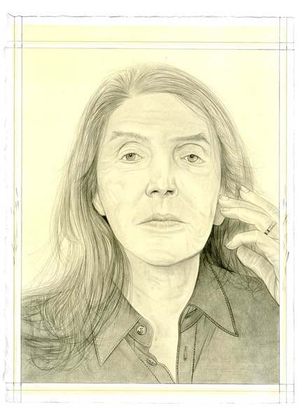 Portrait of Joan Semmel. Pencil on paper by Phong Bui. From a photo by Elfie Semotan.