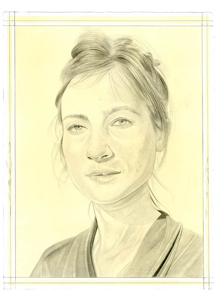 Portrait of Shahzia Sikander. Pencil on paper by Phong Bui.