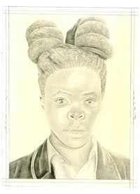 Portrait of Zanele Muholi. Pencil on paper by Phong Bui. From a photo by Zanele Muholi.