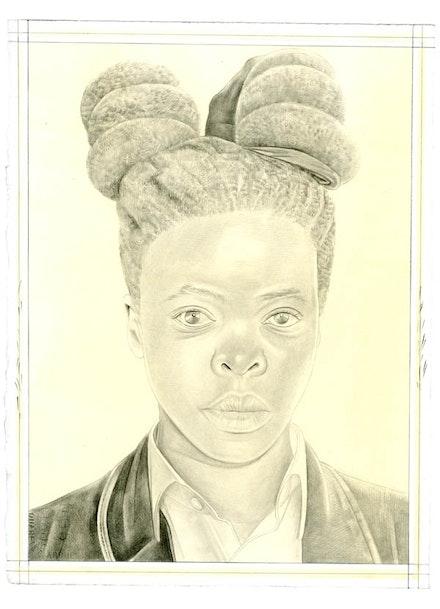 Portrait of Zanele Muholi. Pencil on paper by Phong Bui. From a photo by Zanele Muholi.