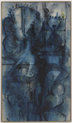 Richard Pousette-Dart. <em>Blue Image</em>, 1950. Oil on linen. 60-5/8 x 35-1/4 inches. Photograph by Kerry Ryan McFate, Courtesy of Pace Gallery. © 2016 Estate of Richard Pousette-Dart / Artists Rights Society (ARS), New York.