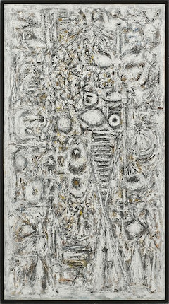 Richard Pousette-Dart. <em>Shadow of the Unknown Bird,</em> 1955-58. Oil on linen. 95-1/2 x 52-1/2 inches. Photograph by Kerry Ryan McFate, Courtesy of Pace Gallery. © 2016 Estate of Richard Pousette-Dart / Artists Rights Society (ARS), New York.