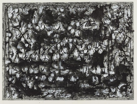 Richard Pousette-Dart. <em>Black and White Landscape</em>, 1979. Etching with acrylic. 17 7/8 x 23 7/8 inches [plate]; 22 3/8 x 31 1/4 inches [sheet]. © The Richard Pousette-Dart Estate / Artists Rights Society (ARS), New York. Courtesy of Del Deo & Barzune, New York
