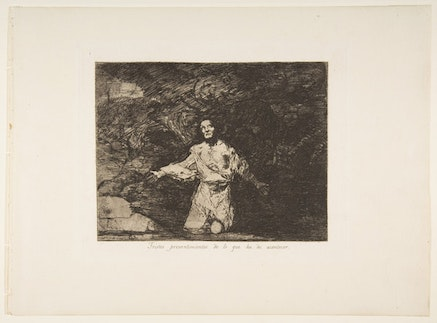 Francisco de Goya, Plate 1 from &ldquo;The Disasters of War&rdquo; (&ldquo;Los Desastres de la Guerra&rdquo;): <em>Sad forebodings of what is to happen</em>. (<em>Tristes presentimientos de lo que ha de acontecer</em>.), ca. 1815, published 1863. Etching, burin, drypoint, and burnisher. 9 15/16 &#215; 13 1/2 inches. Purchase, Rogers Fund and Jacob H. Schiff Bequest, 1922. Metmuseum.org, OASC.
