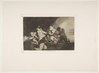 "Francisco de Goya, Plate 26 from ""The Disasters of War"" (""Los Desastres de la Guerra""): <em>One can't look</em>. (<em>No se puede mirar</em>.) 1810 – 20, published 1863. Etching, burnished lavis, drypoint and burin. 9 15/16 × 13 1/2 in. Purchase, Rogers Fund and Jacob H. Schiff Bequest, 1922. <a href="