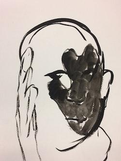 Maya Grace Strauss, <em>Portrait of Leon Golub (based on a photograph by David Reynolds)</em>, 2016. Ink on paper.