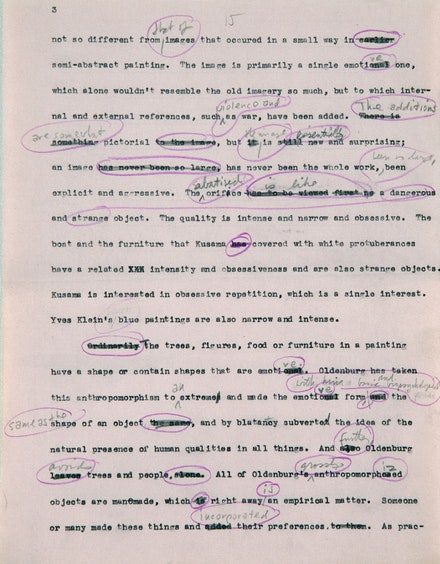 "Donald Judd's typed and handwritten draft of ""Specific Objects,"" 1964. Ink, marker, and pencil on paper. 11 × 8 1/2 inches. Donald Judd Text © Judd Foundation. Image © Judd Foundation."