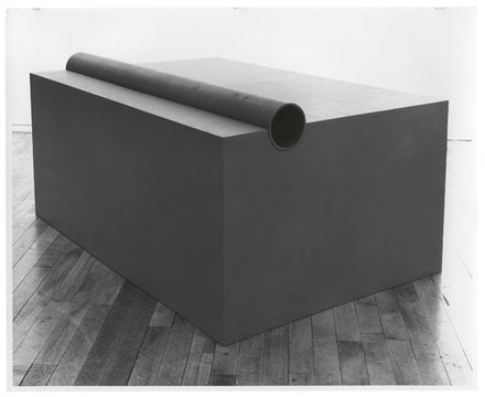 Donald Judd, <em>Untitled</em>, 1963. Oil on plywood with iron pipe. 22 1/8 × 45 3/8 x 30 1/2. Donald Judd Art © Judd Foundation. Image © Judd Foundation.