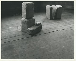 Beverly Buchanan  (American, 1940-2015).<em> Untitled (Slab Works 1)</em>, circa 1978 &#8211; 80.  Black-and-white photograph of cast concrete sculptures with acrylic  paint in artist  studio, 8 1/2  &#215; 11 inches. Private collection. &#169; Estate of Beverly Buchanan, courtesy  of Jane Bridges.