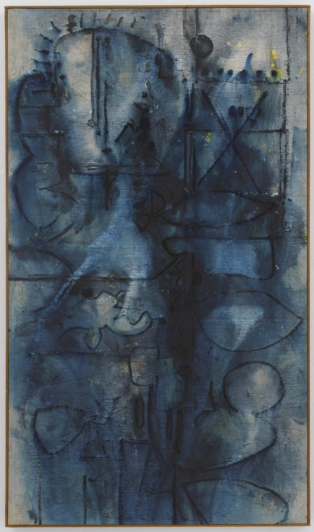 Richard Pousette-Dart, <em>Blue Image</em>, 1950. Oil on linen. 60 5/8 × 35 1/4 inches. Photograph by Kerry Ryan McFate, Courtesy of Pace Gallery. © 2016 Estate of Richard Pousette-Dart / Artists Rights Society (ARS), New York.