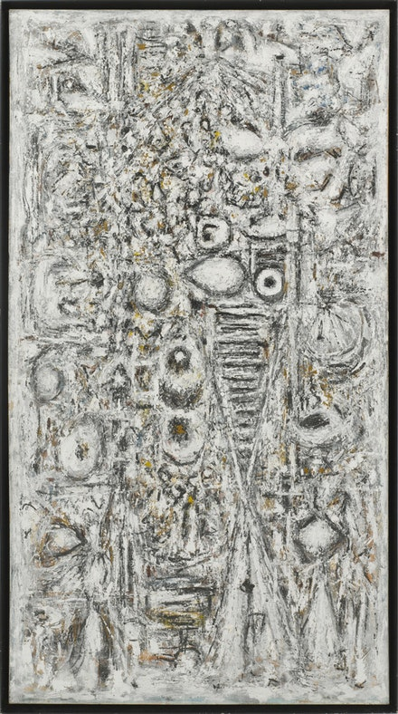 Richard Pousette-Dart, <em>Shadow of the Unknown Bird</em>, 1955 – 58. Oil on linen. 95 1/2 × 52 1/2 inches. Photograph by Kerry Ryan McFate, Courtesy of Pace Gallery. © 2016 Estate of Richard Pousette-Dart / Artists Rights Society (ARS), New York.