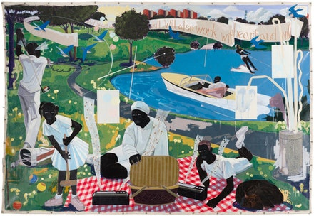 Kerry James Marshall, <em>Past Times</em>, 1997. Acrylic and collage on canvas. 9 feet 6 inches × 13 feet. Metropolitan Pier and Exhibition Authority, McCormick Place Art Collection, Chicago. © Kerry James Marshall. Photo: Nathan Keay, © MCA Chicago.