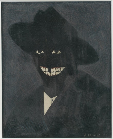 Kerry James Marshall, <em>A Portrait of the Artist as a Shadow of His Former Self</em>, 1980. Egg tempera on paper. 8 × 6 1/2 inches. Collection of Steven and Deborah Lebowitz. © Kerry James Marshall. Photo: Matthew Fried, © MCA Chicago.