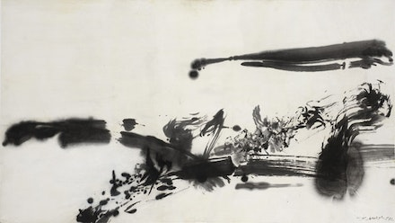 Zao Wou-Ki, <em>Sans titre (Untitled)</em>, 1972. India ink on paper. 26 3⁄16 × 47 1⁄16 inches. Private collection, Switzerland. ©Zao Wou-Ki ProLitteris, Zurich. Photo: Antoine Mercier.