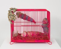 Tetsumi Kudo, <em>Coelacanth</em>, 1970. Painted cage, artificial soil, cotton, plastic, polyester, resin, pills. 10 1/4 × 12 1/4 × 6 inches.