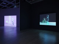 Installation view of <em>Dreamlands: Immersive Cinema and Art, 1905-2016</em> (Whitney Museum of American Art, New York, October 28, 2016 – February 5, 2017). Stan VanDerBeek, <em>Movie Mural</em>, (1968) E.2016.1545. Photography by Ronald Amstutz.