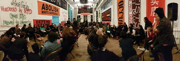 """Our Uprisings: Art Action Assembly.� Artists Space Books & Talks, Sunday, November 20, 2016. Courtesy <em>Decolonize This Place</em> and Artists Space, New York. Photo: Marz Saffore"