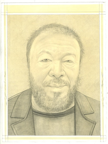 Portrait of Ai Weiwei. Pencil on paper by Phong Bui. From a photo by Zack Garlitos.
