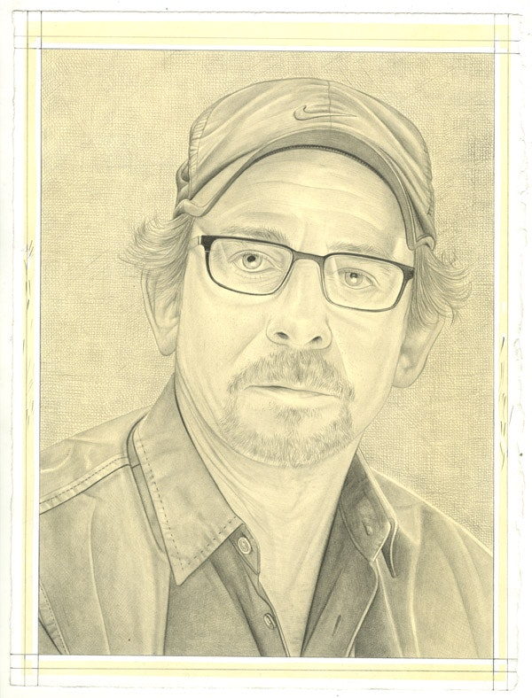 Portrait of Troy Brauntuch. Pencil on paper by Phong Bui. From a photo by Bryan Schutmaat.