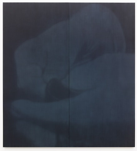 Troy Brauntuch, <em>Untitled (Gloves 1)</em>, 2016. Pigment on cotton. 108 × 99 inches. Courtesy the artist and Petzel, New York.