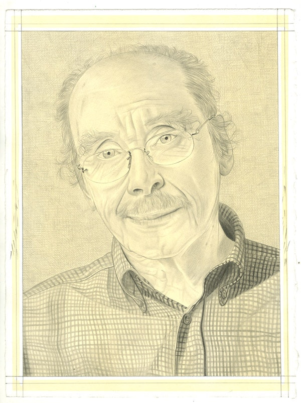 Portrait of Russell Connor. Pencil on paper by Phong Bui. From a photo by Zack Garlitos.