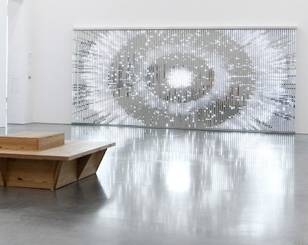 Leo Villareal, <em>Particle Universe</em>, 2016. LEDs, custom software and electrical hardware, mirrored stainless steel. Courtesy of the artist and Sandra Gering Gallery, New York. Photo by Gary Mamay. Installation view:  <em>Artists Choose Artists</em>. Parrish Art Museum, October 30, 2016 – January 16, 2017.