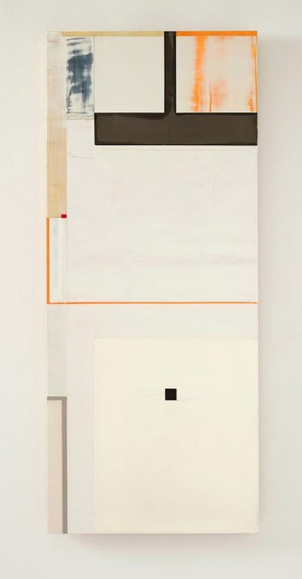 Joan Waltemath. <em>what happens (west 1 1,2,3,5,8…)</em>, 2010- 2016. Oil, graphite, bronze, lead, phosphorescent and fluorescent pigment on honeycomb aluminum panel. 37 x 15 9/16 inches.