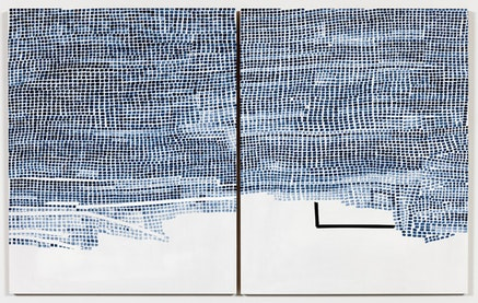 Marjorie Welish. <em>Before After Oaths 14</em>, 2016 Acrylic on panels; doptych measuring 20