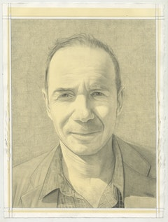 Portrait of Dan Simon. Pencil on paper by Phong Bui. From a photo by Phong Bui.