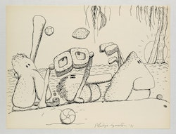 Philip Guston, <em>Untitled (Poor Richard)</em>, 1971. Ink on paper. 10 1/2 x 13 7/8 inches. Photo: Genevieve Hanson. &copy; The Estate of Philip Guston. Courtesy Hauser & Wirth.
