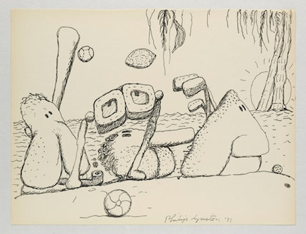 Philip Guston, <em>Untitled (Poor Richard)</em>, 1971. Ink on paper. 10 1/2 x 13 7/8 inches. Photo: Genevieve Hanson. © The Estate of Philip Guston. Courtesy Hauser & Wirth.