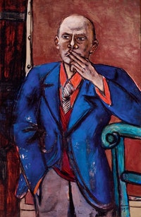 <p>Max Beckmann, <em>Self-Portrait in Blue Jacket</em>, 1950. Oil on canvas. 55 1/8 × 36 inches. Saint Louis Art Museum, Bequest of Morton D. May. Courtesy of the Metropolitan Museum of Art.</p>