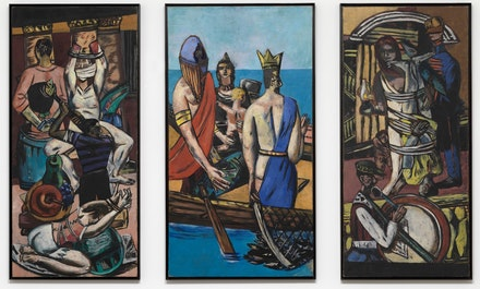 <p>Max Beckmann<em>, Departure</em>, 1932-1933. Oil on canvas. Central panel: 84 3/4 &times; 45 3/8 inches. Left Panel: 84 3/4 &times; 39 1/4 inches. Right Panel: 84 3/4 &times; 39 1/4 inches. The Museum of Modern Art, New York. Given anonymously (by exchange), 1942. Courtesy of the Metropolitan Museum of Art.</p>