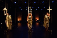 Lela Aisha Jones, Zakiya L. Cornish, Patricia Peaches Jones in <em>Plight Release & The Diasporic Body: Jesus & Egun</em>. Photo: Scott Shaw.