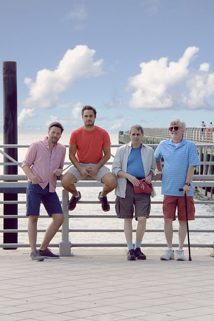 (from left to right) Brian Gligor, Marc Sinoway, Joseph J. Menino, and R. Scott Williams in <em>Boys of a Certain Age</em>.