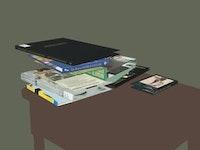 """Brandon Lattu, """"Nightstand Stack� (2006). Type C print. 22.5� x 29.5�."""