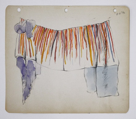 "Rosemary Mayer, <em>Untitled (RMSDGM05)</em>, 1972. Watercolors, colored pencil and graphite on paper. 8 1/2 x 11"". Courtesy Southfirst Gallery."