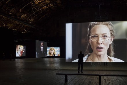 Installation view: Julian Rosefeldt, <em>Manifesto.</em> Park Avenue Armory, December 7, 2016 – January 8, 2017. Photo: James Ewing.